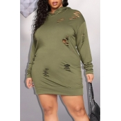 Lovely Casual Hooded Collar Army Green Plus Size M
