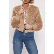 Lovely Casual Short Khaki Coat