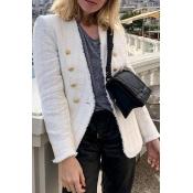 Lovely Trendy Basic Buttons White Blazer