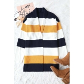 Lovely Fashion Striped Patchwork Sweater Cardigans