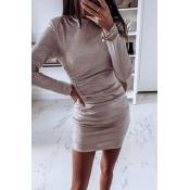Lovely Casual O Neck Khaki  Mini Dress