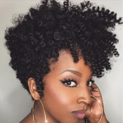Lovely Stylish Short Curly Synthetic Black Wigs