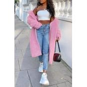 Lovely Trendy Winter Turn-down Collar Pink Teddy Coat