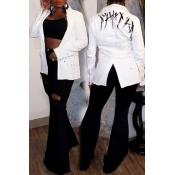 Lovely Trendy Slit White Blazer