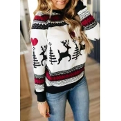 Lovely Christmas Day Printed White Sweatshirt Hood