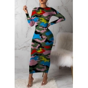 Lovely Casual Camouflage Printed Multicolor Mid Calf Dress