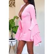 Lovely Party Deep V Neck Pink Mini Dress