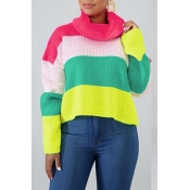 Lovely Casual Turtleneck Patchwork Rose Red Sweate