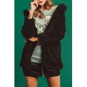 Lovely Fashion Three Quarter Sleeves Black Coat
