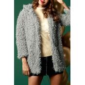 Lovely Fashion Three Quarter Sleeves Grey Coat