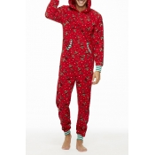 Lovely Family Printed Red Father One-piece Jumpsui