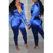 Lovely Trendy Deep V Neck Royal Blue Two-piece Pants Set