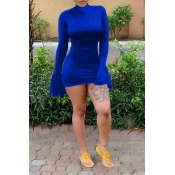 Lovely Trendy Half A Turtleneck Blue Mini Dress