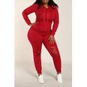 Lovely Casual Broken Holes Wine Red Plus Size Two-