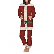 Lovely Cosplay Christmas Day Printed Red One-piece