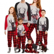Lovely Family Plaid Printed Red Mother Two-piece P