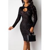Lovely Party Hollow-out Black Knee Length Prom Dre