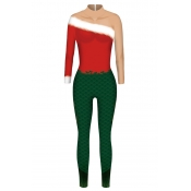 Lovely Cosplay Patchwork Green One-piece Jumpsuit