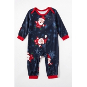 Lovely Family Santa Claus Printed Blue Baby One-pi