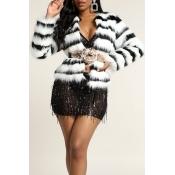 Lovely Winter Striped Basic Black Coat(Without Bel