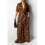 Lovely Casual Leopard Printed Floor Length Dress
