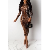Lovely Casual Skinny Brown Mid Calf Dress