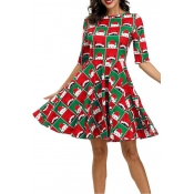 Lovely Christmas Day Printed Green Knee Length Dre