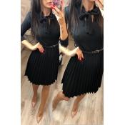 Lovely Sweet Ruffle Design Black Knee Length Dress