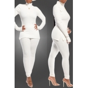 Lovely Casual Basic White Two-piece Pants Set