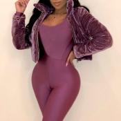Lovely Casual Long Sleeves Purple Velvet  Jacket