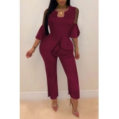 Lovely Trendy Flounce Design Wine Red One-piece Jumpsuit