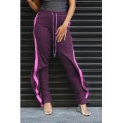 Lovely Casual Striped Flounce Purple Pants