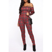 Lovely Street Plaid Printed Red Two-piece Pants Se