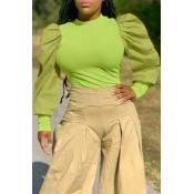 Lovely Sweet O Neck Ruffle Design Green  Blouse