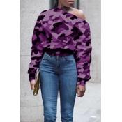 Lovely Casual O Neck Purple Sweatshirt Hoodie