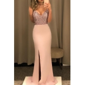 Lovely Party Patchwork Backless Pink Floor Length