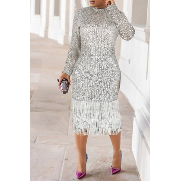 Lovely Casual Tassel Design Silver Knee Length Dress
