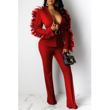 Lovely Work V Neck Patchwork Red Two-piece Pants Set