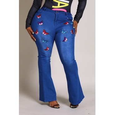 Lovely Casual Embroidered Design Blue Plus Size Jeans