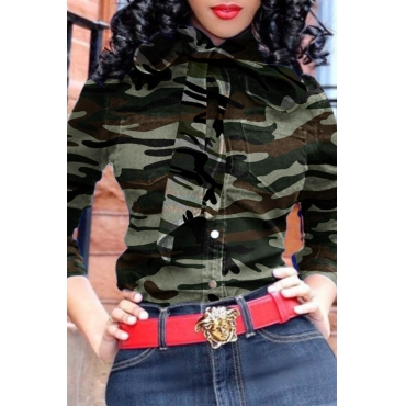 Lovely Casual Camouflage Printed Army Green Blouse