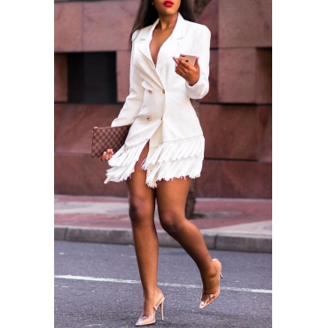 Lovely Trendy Flounce Patchwork White Mini Dress