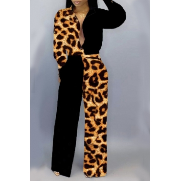 Lovely Trendy Patchwork Leopard Printed One-piece Jumpsuit