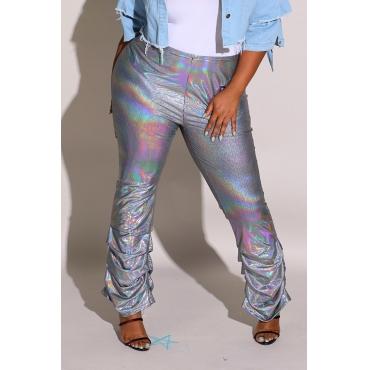 Lovely Trendy Ruffle Design Silver Plus Size Pants