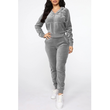 Lovely Casual Hooded Collar Basic Grey Two-piece Pants Set