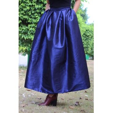 Lovely Trendy Ruffle Design Blue Skirts