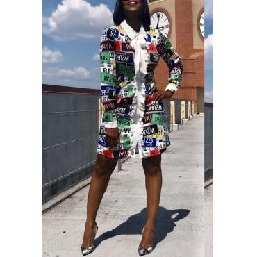Lovely Sweet Printed White Knee Length Dress
