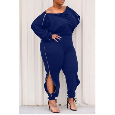 Lovely Casual Zipper Design Blue Plus Size One-piece Jumpsuit