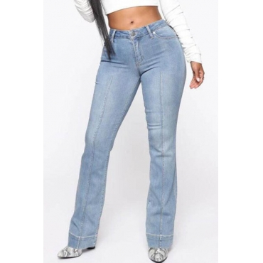Lovely Casual Patchwork Baby Blue Jeans