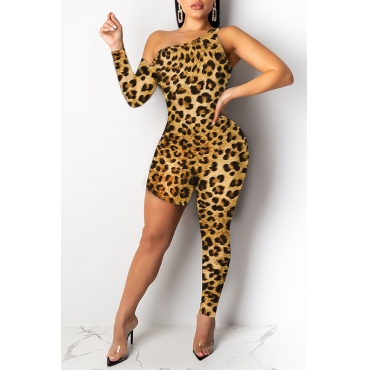 Lovely Trendy Asymmetrical Leopard Printed One-piece Jumpsuit