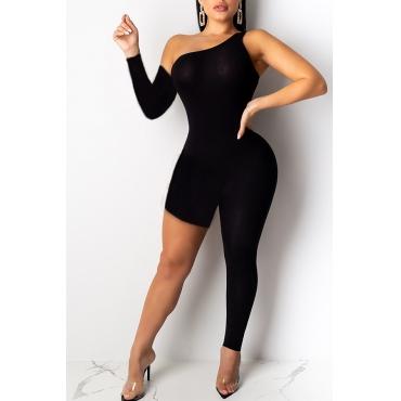 Lovely Trendy Asymmetrical Black One-piece Jumpsuit
